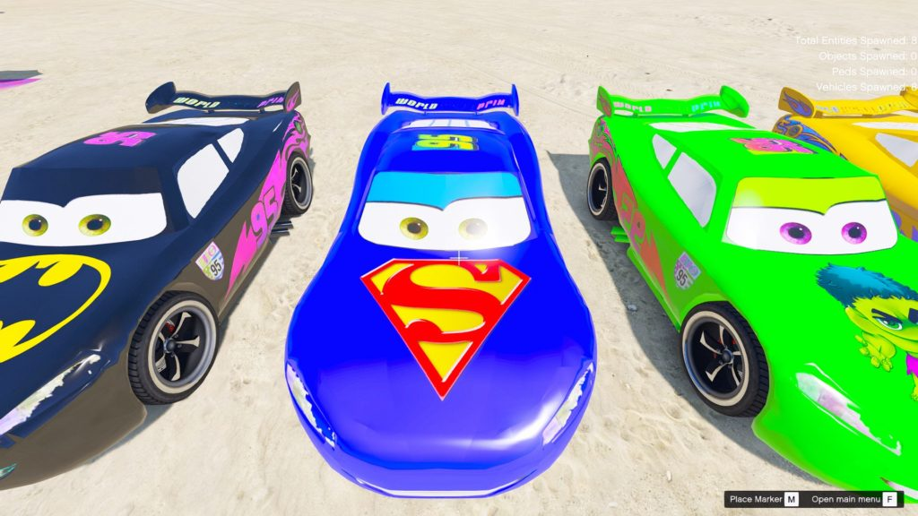 gta 5 mod lightning mcqueen superheroes  best gta5 mods